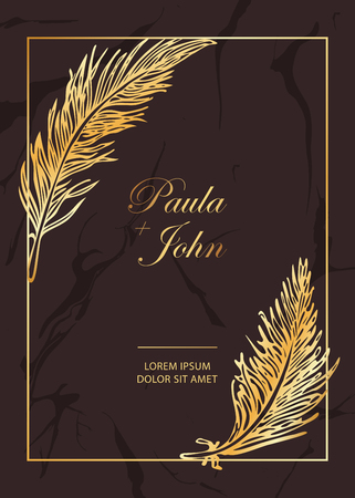 Stylish Luxury Vintage template with marble texture background and golden frame with feathers. Trendy vector illustration. Perfect for wedding invitation, greeting card, vip coupon, rsvp, sale banner Ilustrace