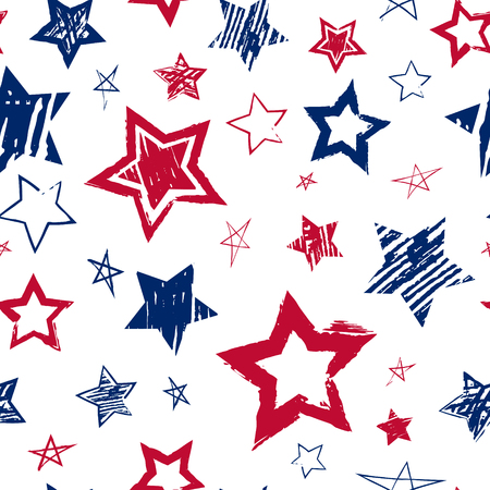 Abstract grunge urban seamless pattern with hand drawn stars colored as USA Flag. Grungy repeating backdrop for kids, sport textile, clothes, bedding, wrapping paper, wallpaper.  Stock Vector.