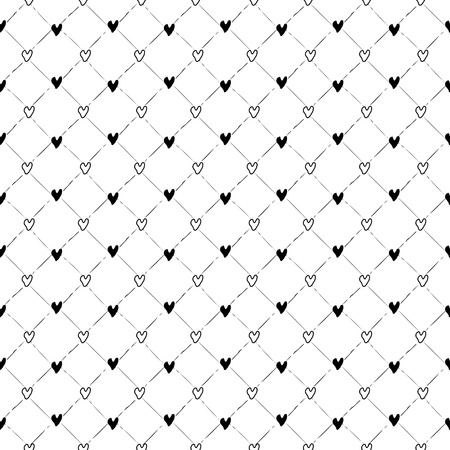 Vector seamless pattern. Inspired by Memphis Design. Simply trendy texture with hand drawn hearts and strokes grid. Minimalist abstract background with love theme. Stock vector.