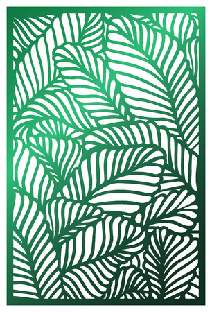 Vector Abstract Pattern of Biophilic design with tropical leaves. Template for decorative panel, partition, interior design, layouts wedding invitations, greeting cards, envelopes, decor art object