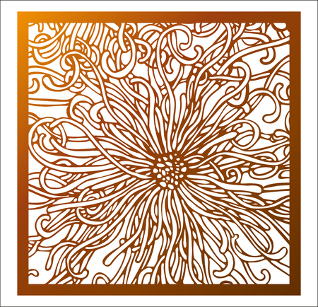 Laser cutting square panel. Vector openwork floral pattern with fantastic flower. Design template for gift box silhouette ornament, wall art, screen, panel fence, partition, gate, coaster. Ilustrace