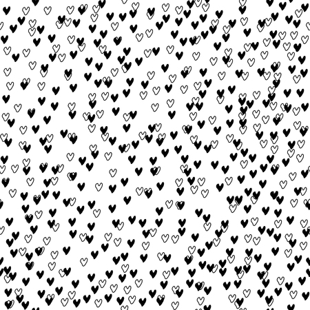 Vector seamless pattern. Inspired by Memphis Design. Simply trendy texture with hand drawn chaotic hearts. Minimalist abstract background with romantic theme. Stock vector.