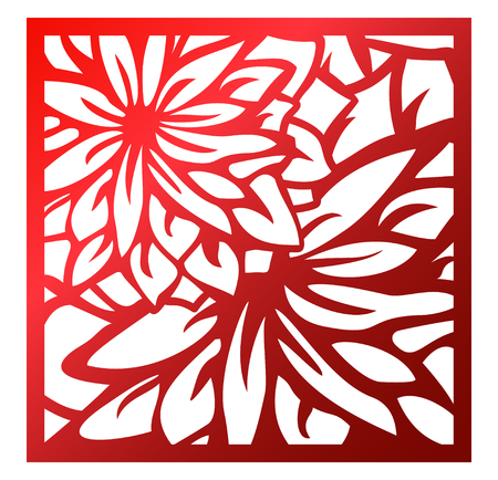 Laser cutting square panel. Openwork floral pattern with flowers. Perfect for silhouette ornament, wall art, screen, panel fence, partition, gate, coaster. Vector design template for cutting