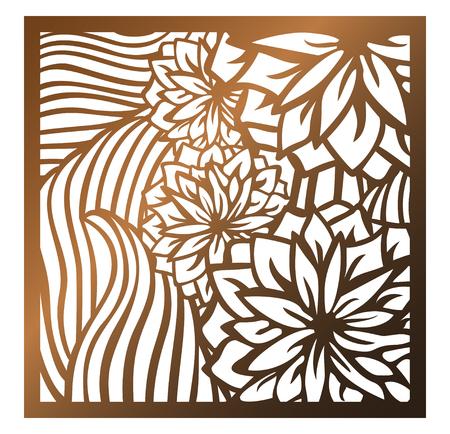 Panel cuadrado de corte por láser. Patrón floral calado con flores y hojas. Perfecto para adornos de silueta, arte de pared, pantalla, valla de panel, partición, puerta, posavasos. Plantilla de diseño vectorial para cortar