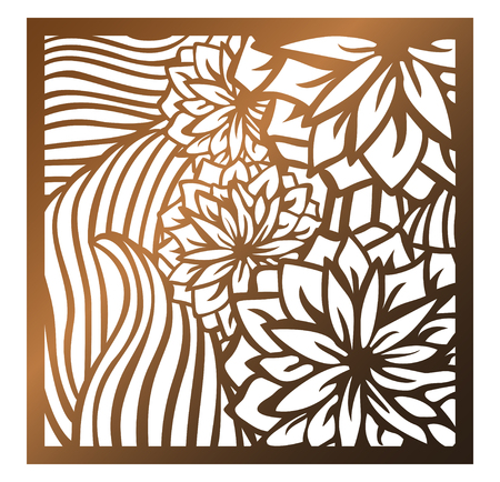Laser cutting square panel. Openwork floral pattern with flowers and leaves. Perfect for silhouette ornament, wall art, screen, panel fence, partition, gate, coaster. Vector design template for cutting