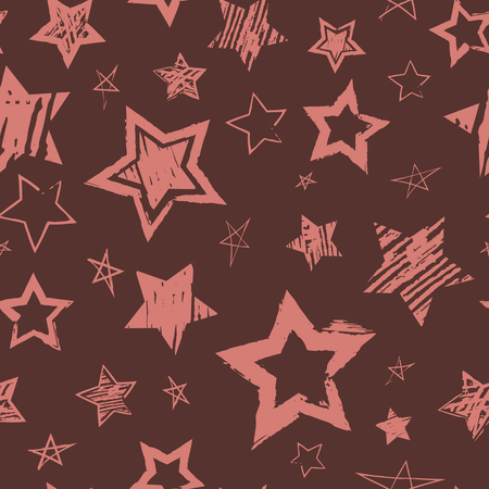 Abstract seamless grunge style pattern. Repeating background with stars hand drawn brush, ink, marker, pencil drawing. Vector backdrop Ilustrace