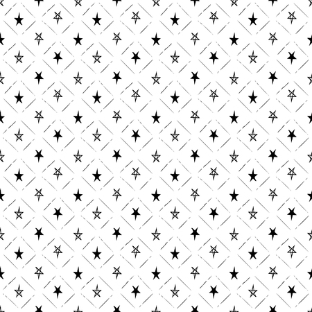 Vector seamless pattern. Inspired by Memphis Design. Simply trendy texture with hand drawn stars and strokes grid. Minimalist abstract background with neutral theme. Stock vector.