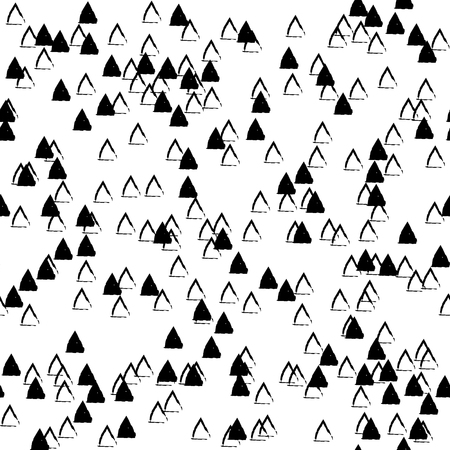Vector seamless pattern. Inspired by Memphis Design. Simply trendy texture with hand drawn chaotic triangles. Minimalist abstract background with children and nature theme. Stock vector.