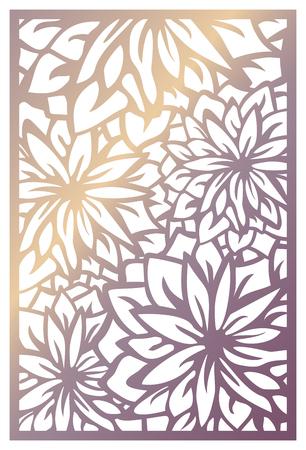 Panel de corte láser vectorial. Patrón abstracto con flores. Plantilla para panel decorativo con tema de naturaleza. Stock vector.