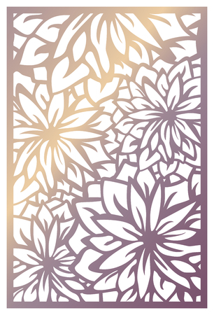 Vector laser cut panel. Abstract pattern with flowers. Template for decorative panel with nature theme. Stock vector.