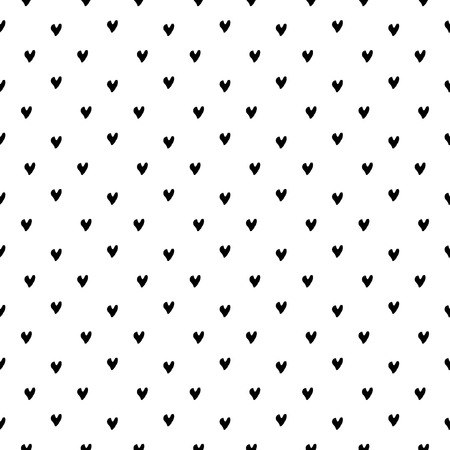 Vector seamless pattern. Inspired by Memphis Design. Simply trendy texture with hand drawn hearts. Minimalist abstract background with love theme. Ilustrace