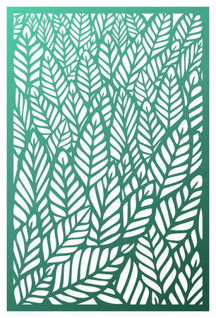 Vector laser cut panel. Abstract pattern with leaves template for decorative panel. Inspired by foliage, forest, trees, plants, tropic and nature. Image with botanical theme. Stock vector.