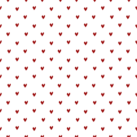 Vector seamless pattern. Inspired by Memphis Design. Simply trendy texture with hand drawn hearts. Minimalist abstract background with love romantic theme.