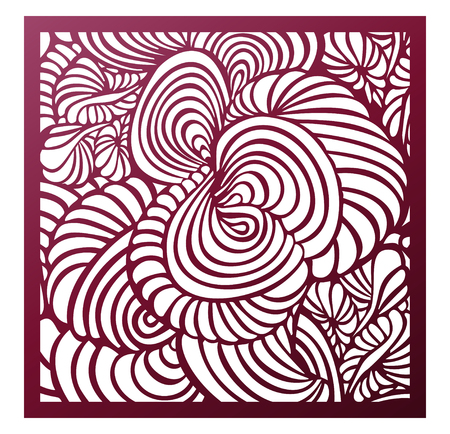 Vector Laser cut square panel. Abstract pattern template for decorative panel. Template for interior design, layouts wedding invitations, greeting cards, envelopes, art objects Illustration