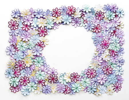 Embroidery Colorful Flowers Pattern Texture And Background For