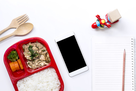 Food Delivery service: Express delivery concept for business food by motorcycle at home or office online order with copy space for text