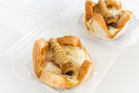 Food Insects: Worm beetle for deep-fried as food items in bread homemade made of fried insect meat in package it is good source of protein which edible and delicious. Future food, entomophagy concept. Banque d'images
