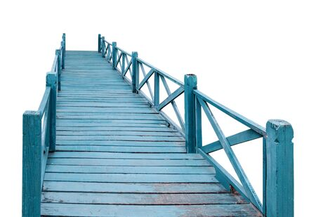 Old wood bridge blue isolated on the white background which has walk way for travel tourism for holiday destination for tourists.