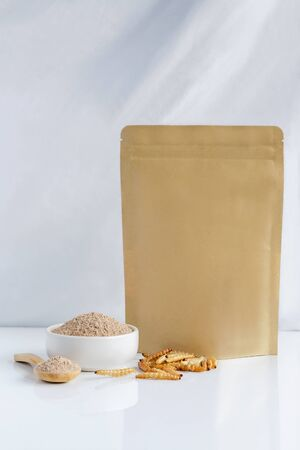 Bamboo worm powder. Bamboo Caterpillar flour Insects for eating as food edible made of insect meat in bowl and spoon with package bag, it is good source of protein for future. Entomophagy concept.