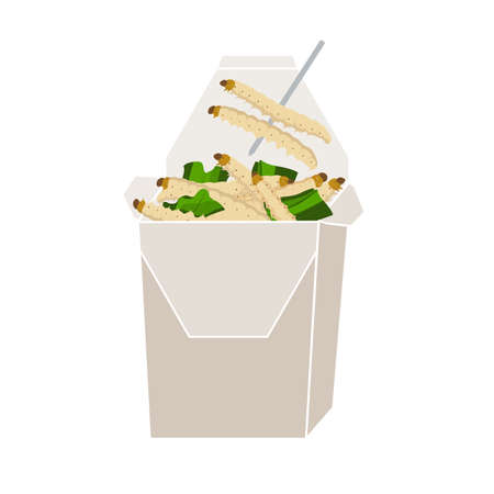 Bamboo Caterpillar insects for eating as food deep-fried crispy snack in paper box for take-away home. It is good source of protein edible for eating future food and entomophagy concept.