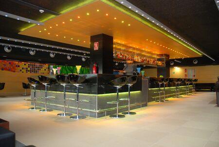 lounge bar: Bar counter with nice light and bar chairs