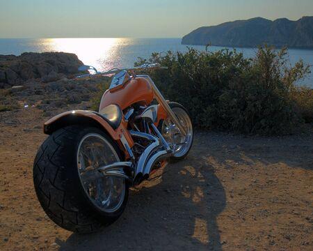 costum: Costum Bike from the back in sunset