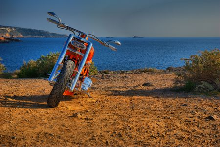 costum: Costum Bike frontal on the sea Stock Photo