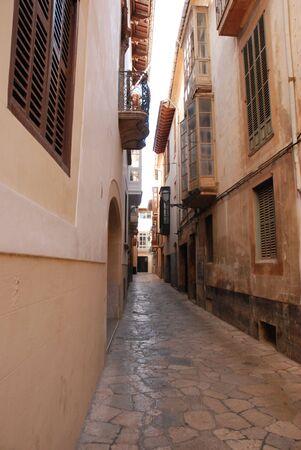 flagging: alleyway in palma de mallorca Stock Photo