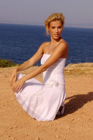 blondy: Sexy blondy in white dress