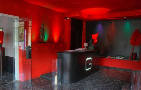 Lounge bar counter with red walls photo