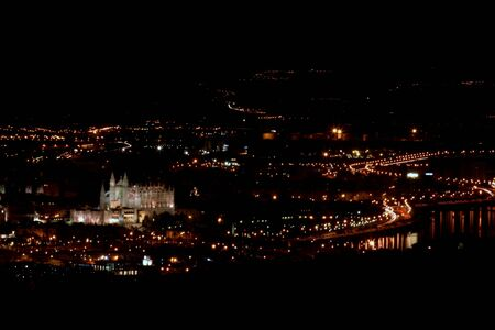 great bay: great view in a night on Palma de Mallorca were you can see catedral, bay of palma