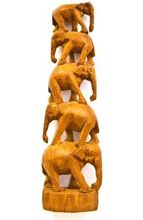 Elephants made of wood from Thailand. Stock Photo - 9939300