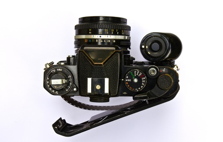 Old film camera on a white background. Stock Photo - 10033130