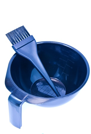 For dyeing hair on a white background. Stockfoto