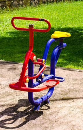 Outdoor playground equipment for young children.