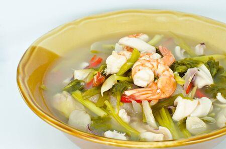 sour grass: Tom Yum Goong. Popular  Thai food.