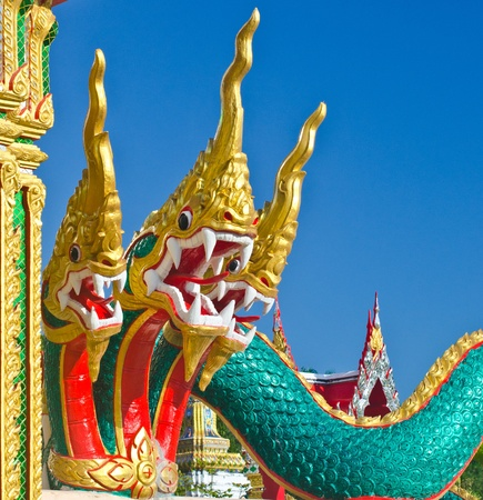 Head of the serpent in the temple of Thailand. photo