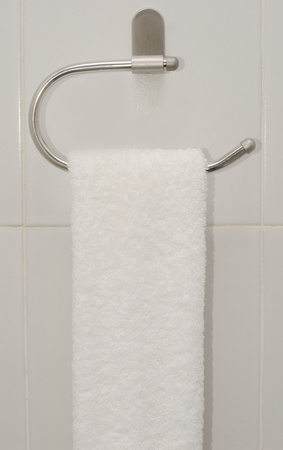 Towel rack in the bathroom.