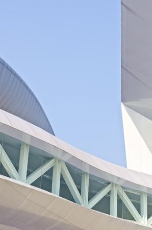 elevated walkway: Beautiful walkway between Modern buildings  Stock Photo