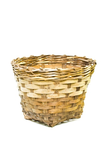 Woven bamboo container on a white background  photo