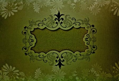 Floral design on gold paper