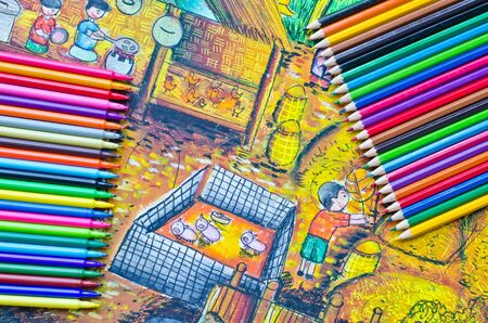 Hand drawing and color pencils  photo