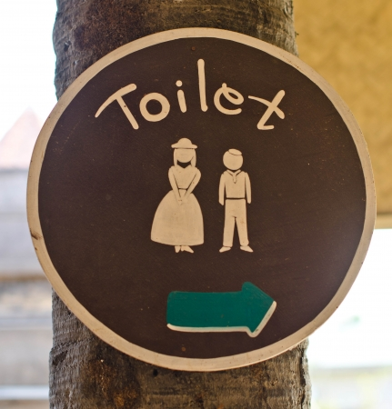 Signs to the toilet made of wood