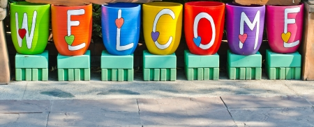 The colorful on welcome sign  photo