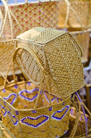 wickerwork: Eco friendly wicker shopping bags made of natural material