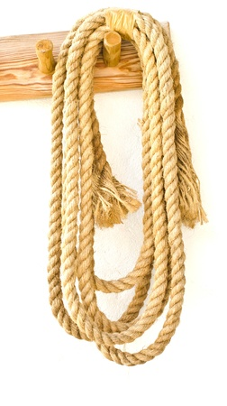 Coil of rope hanging on the wall