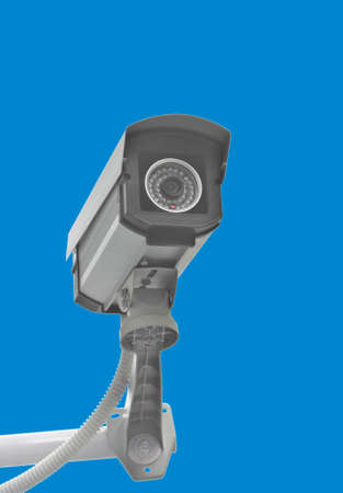 CCTV for security in the city on blue background