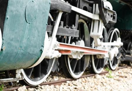 A steam locomotive detail in a garage  photo