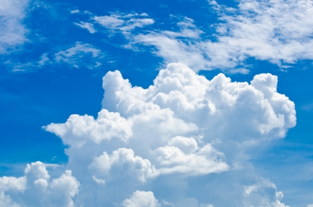 photons: White clouds with blue sky in summer.