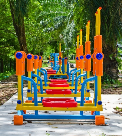 Exercise equipment in public park. photo